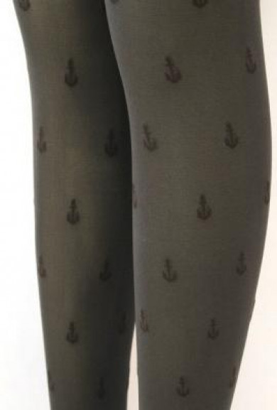 Pantyhose - Anchor Ashore Anchor Print Dark Grey Pantyhose