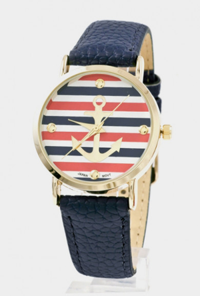 Watch -Nautical Hour Anchor Striped Watch in Navy