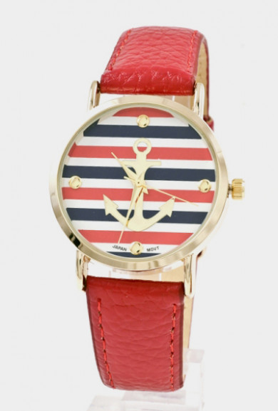 Watch -Nautical Hour Anchor Striped Watch in Red