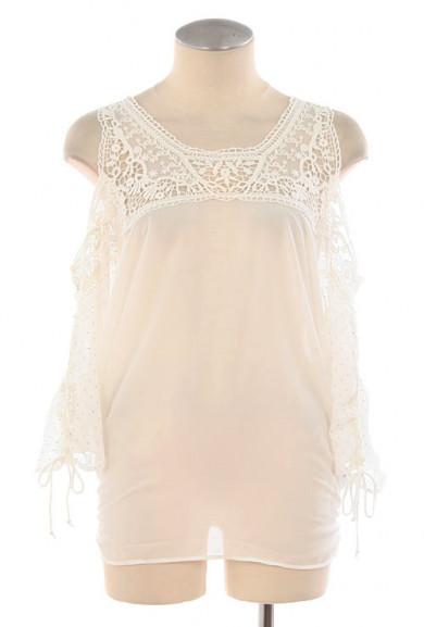 Top - Angelic Nature 3/4 Sleeve Cold Shoulder Crochet Top