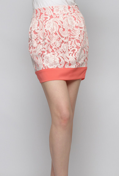 Skirt - Anniversary Day Contrast Lace Mini Skirt in Coral