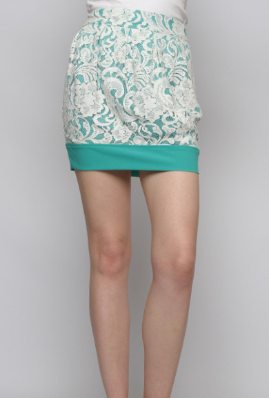 Skirt - Anniversary Day Contrast Lace Mini Skirt in Jade