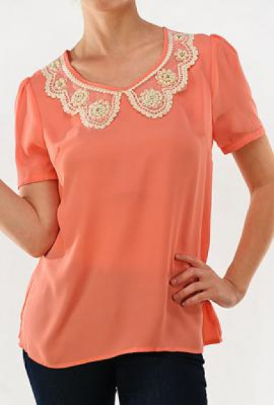 Top - Aristocratic Lineage Vintage Short Sleeve Top in Coral