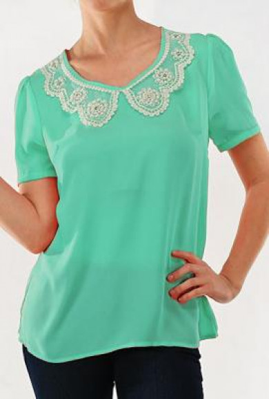 Top - Aristocratic Lineage Vintage Short Sleeve Top in Mint