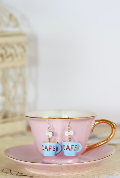 Earrings - Aroma Coma Coffee Mug Bow Earrings in Cafe Blue