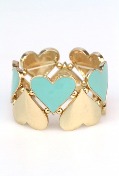 Bracelet - Hugs and Kisses Heart Cutout Stretch Bracelet In Mint