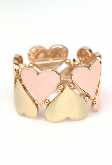 Bracelet - Hugs and Kisses Heart Cutout Stretch Bracelet In Pink