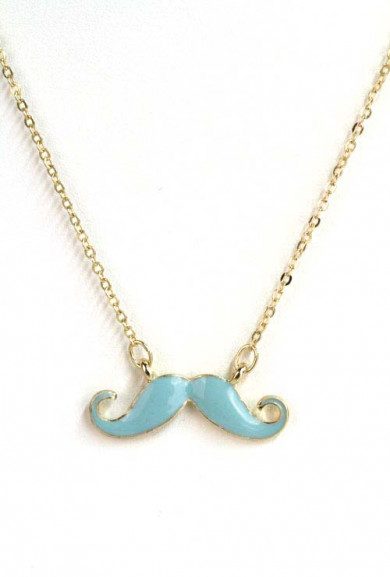 Necklace - Hipster Movement Enamel Mustache Necklace in Teal