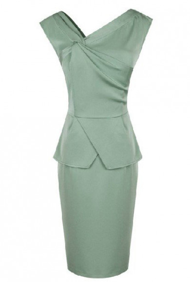 Dress - Sincerely Yours Asymmetric Crisscross Knot Peplum Dress in Mint Green