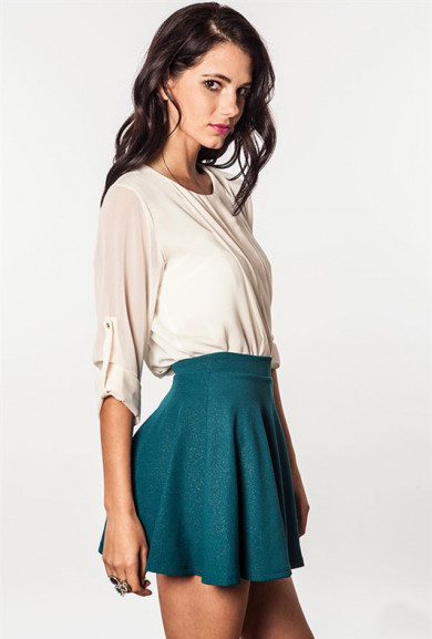 Skirt - Autumn Sparkle Shimmer Textured Skater Skirt in Teal