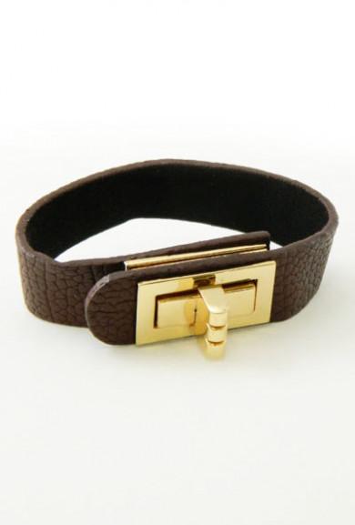 Bracelet - High Society Turn Lock Leather Bracelet in Brown