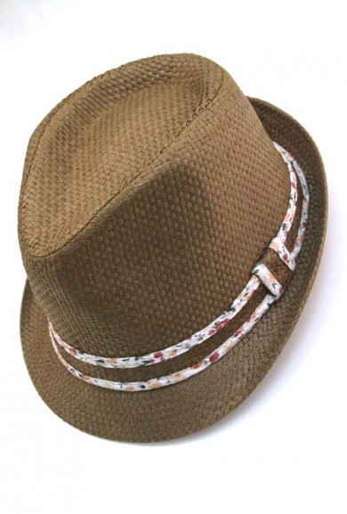 Hat - Wind Factor Floral Print Trim Straw Fedora Hat in Brown