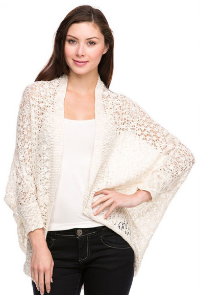 Cardigan - Beachside Bonfire Open Knit Cardigan in Ivory