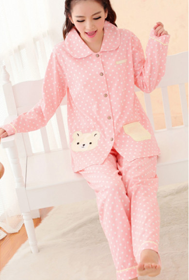 Pajama - Beary Sweet Polka Dot Print Vintage Pajama Set in Pink/Yellow