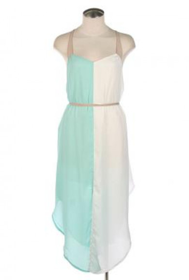 Dress - Better Half Strappy Vertical Color block Dress in Mint/White