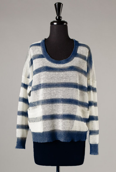 Sweater - Between the Lines Lightweight Navy Stripe Knit Sweater