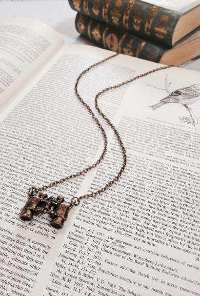 Necklace - Twitcher's Delight Binocular Pendant Necklace in Bronze