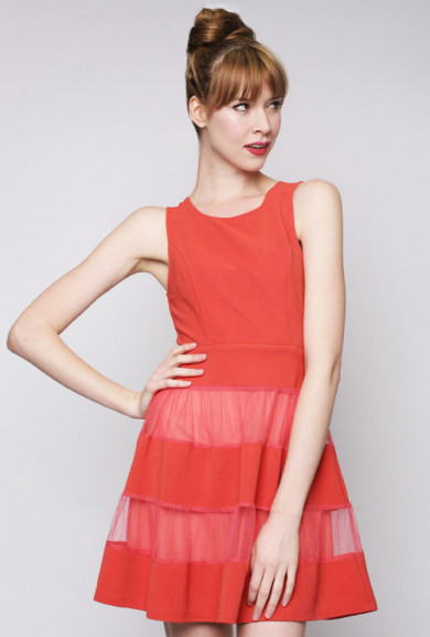 Dress - Birthday Bash Contrast Mesh Sleeveless Skater Dress in Tomato