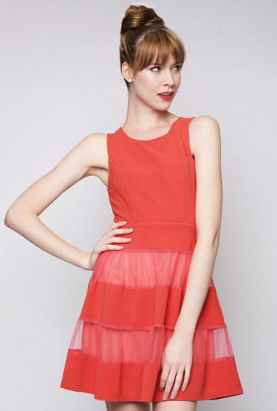Dress - Birthday Bash Contrast Mesh Sleeveless Skater Dress in Tomato