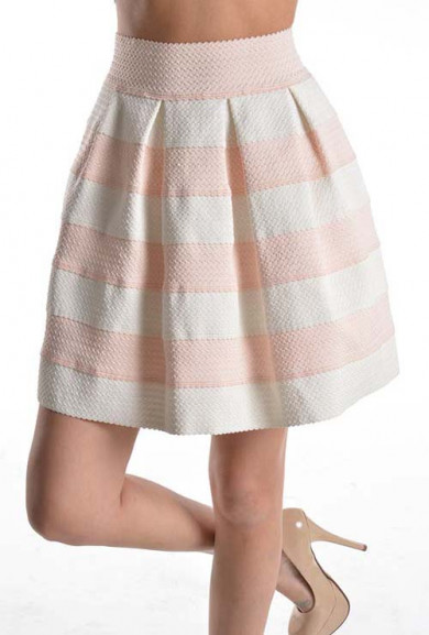 Skirt - Birthday Cake High Waist Striped Skater Skirt in Blush Pink