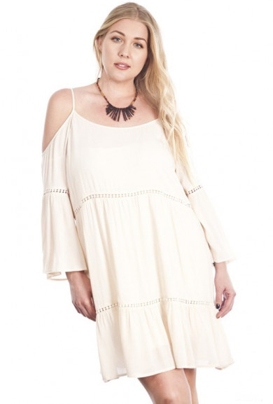 Dress - Bohemian Dream Off-the-Shoulder Peasant Dress in Cream