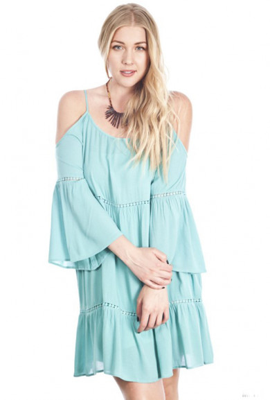 Dress - Bohemian Dream Off-the-Shoulder Peasant Dress in Mint