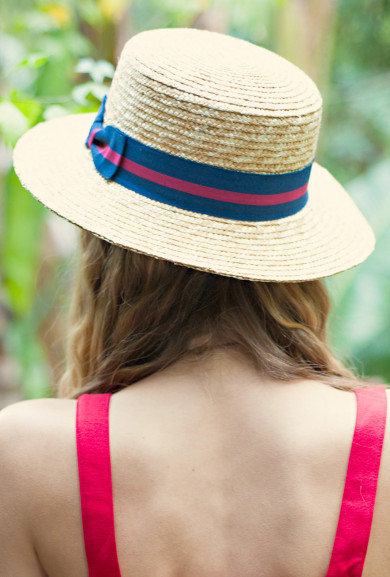 Hat -	 Bon Voyage Nautical Boater Straw Hat
