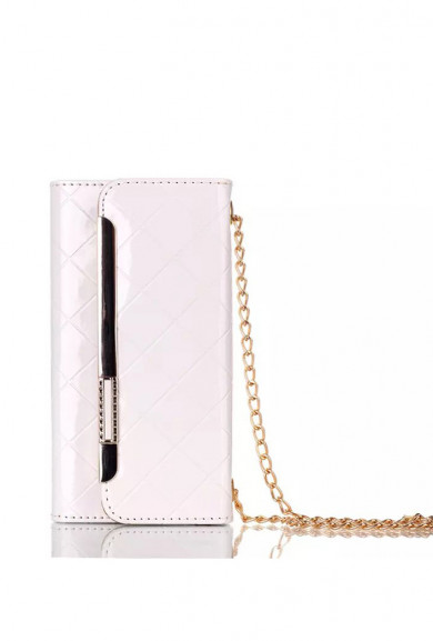 Wristlet - Boss Lady Lattice Crossbody iPhone 6 Plus Wallet White Wristlet