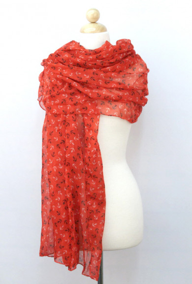 Scarf - Sea Wind Anchor Print Red Scarf