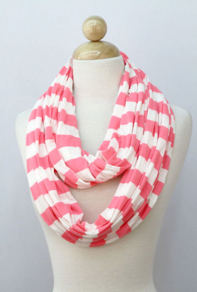 Scarf - Nautical Breeze Striped Coral Infinity Scarf