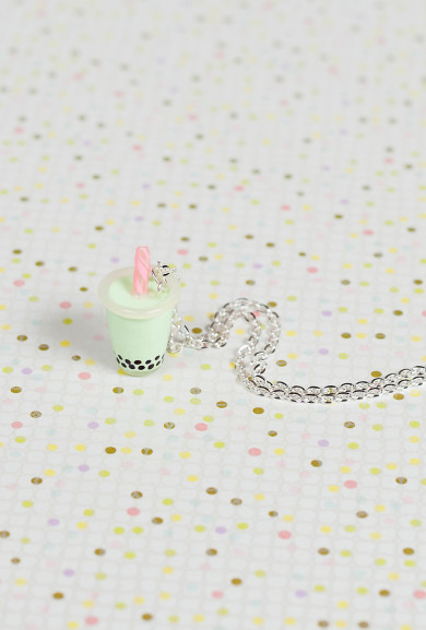 Necklace - Bubble Bubble Boba Tea Charm Necklace in Honeydew Milk Tea
