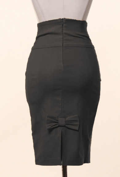 Skirt - Business Casual Bow Back High Waist Pencil Skirt in Black