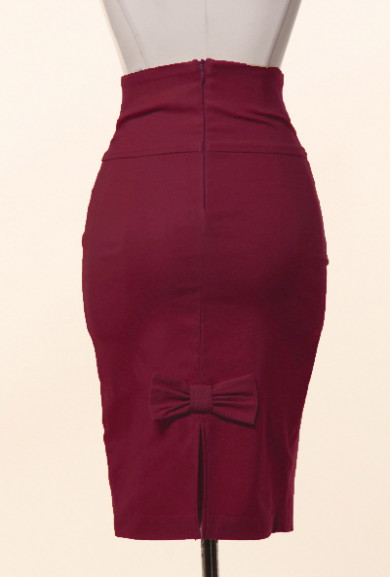 Skirt - Business Casual Bow Back High Waist Pencil Skirt in Burgundy