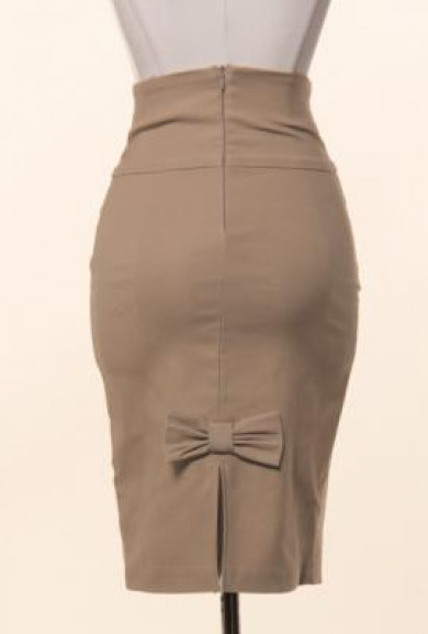 Skirt - Business Casual Bow Back High Waist Pencil Skirt in Mocha