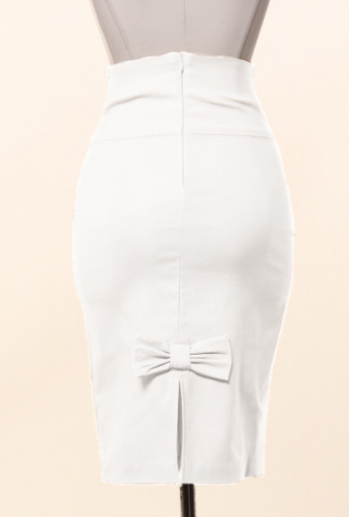 Skirt - Business Casual Bow Back High Waist Pencil Skirt in White