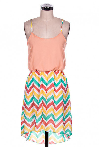 Dress - Candy House Whimsy Multicolor Chevron Contrast High Low Dress