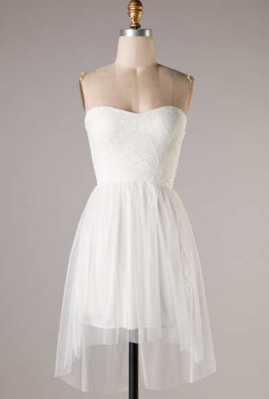 Dress - Celestial Celebration Lace Sweetheart Dress in Diamond White