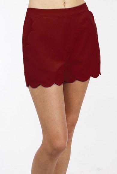 Shorts - Chic Statement Scallop Hem High Waist in Burgundy