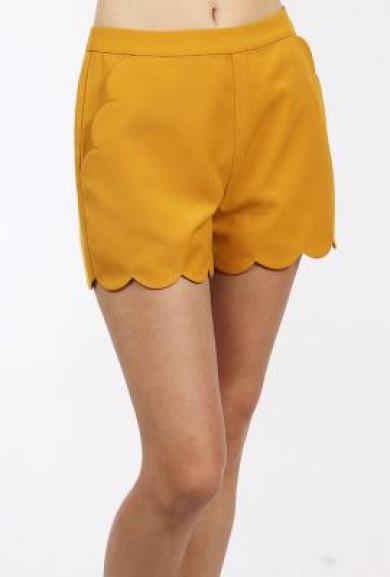 Shorts - Chic Statement Scallop Hem High Waist in Mustard Yellow