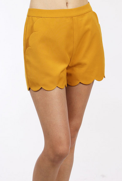 Shorts - Chic Statement Scallop Hem High Waist in Mustard Yellow