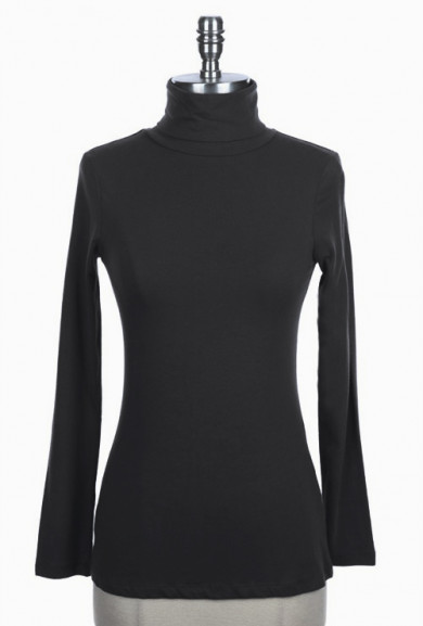 Top - Classic Versatility Long Sleeve Turtleneck Solid Top in Black