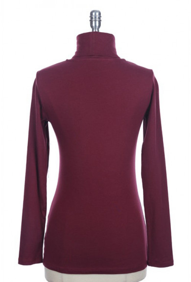 Top - Classic Versatility Long Sleeve Turtleneck Solid Top in Burgundy