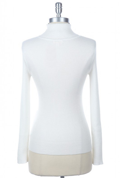 Top - Classic Versatility Long Sleeve Turtleneck Solid Top Cream
