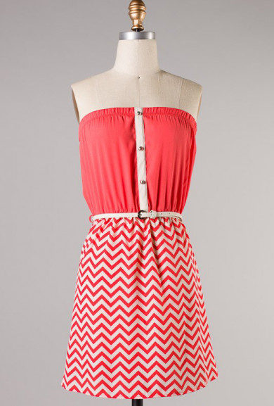 Dress - Coastal Scene Belted Strapless Chevron and Solid Pattern Block Dress in Coral