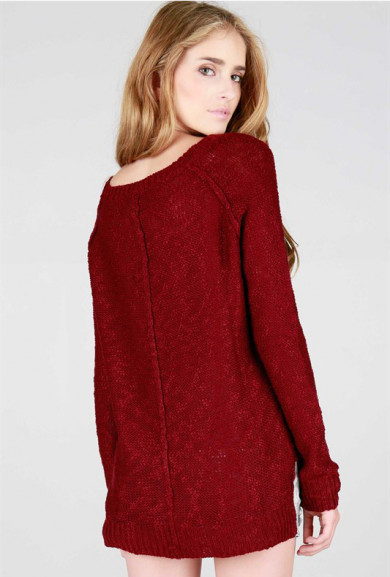 Sweater - Comfort Habits Maroon Simple Knit Sweater