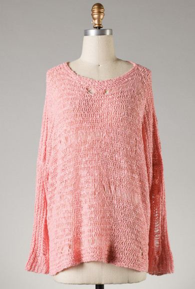 Sweater - Common Thread Distressed Pink Knit Sweater
