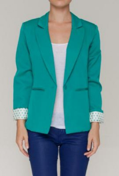 Blazer - Conference Call Polka Dot Lined Blazer in Teal