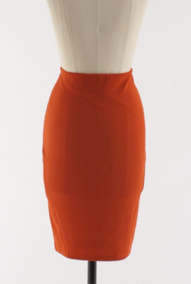 Skirt - Corner Cubicle Pocketed High Waist Pencil Skirt in Rust