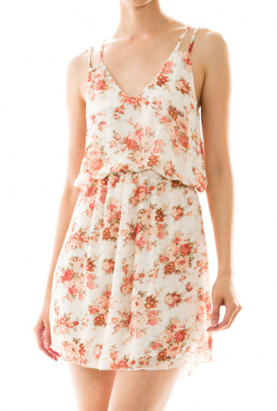 Dress - Country Fair Floral Print Dress in Ivory