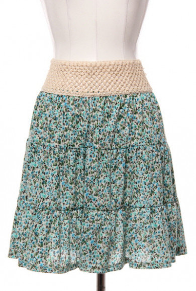 Skirt - Countryside Picnic Ditsy Floral Skirt with Crochet Waistband in Turquoise